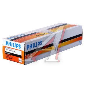 Лампа 12V W3W W2.1x9.5d бесцокольная PHILIPS 12256CP, P-12256
