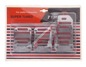 Накладка педали для МКПП комплект 3шт. с подсветкой 12V хром с красным TYPE R EL-MG-1008R/CH