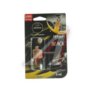 Ароматизатор подвесной жидкостный (черный) с деревянной крышкой 6мл Car Wood AROMA 63118, Aroma Car Wood (denim black