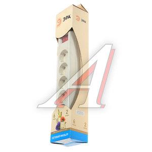 Фильтр сетевой 2м 10А 3500Вт, 6 гнезд, с заземлением, выключатель, евро, слоновая кость ЭРА SF-6es-2m-I, C0039364