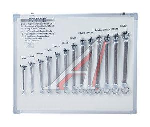 Набор ключей накидных 6-32мм 13 предметов на стенде изгиб 75град. FORCE F-5133