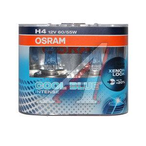 Лампа 12V H4 60/55W +20% P43t бокс (2шт.) Cool Blue Intense OSRAM 64193CBI-DUOBOX, O-64193CBI2(EURO), АКГ12-60+55(Н4)