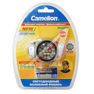 Фонарь налобный 19 светодиодов 4см 4 режима 4.5V 3хLR03 CAMELION C-5313-19