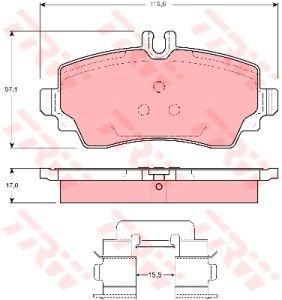 Колодки тормозные MERCEDES A-Class W168 (97-04) передние (4шт.) TRW GDB1292, 1684201520/1684201220/1684200020