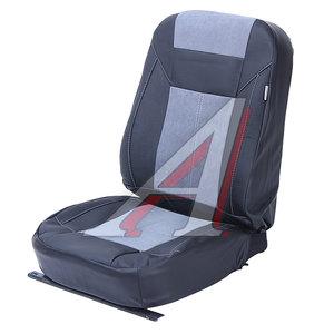 Авточехлы универсальные экокожа (AIRBAG 3 молнии карманы) черно-серые комплект Absolute Next PSV 126324, 126324 PSV
