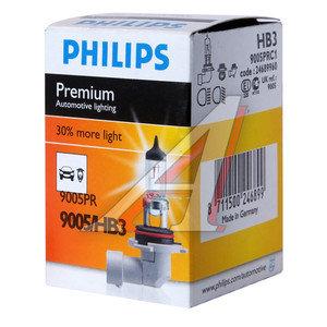 Лампа 12V HB3 65W +30% P20d Premium PHILIPS 9005PRC1, P-9005PR