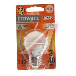 Лампа светодиодная E27 P45 4.7W(40W) 2700K 230V теплый белый шарик ECOWATT 4606400613343