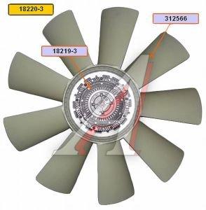 Вентилятор КАМАЗ-ЕВРО 710мм с вязкостной муфтой в сборе (дв.740.50,51 до 2007 г.) BORG WARNER 18220-3