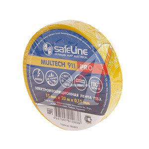 Изолента ПВХ желтая 15ммх20м SAFELINE 9361, SAFELINE 15х20