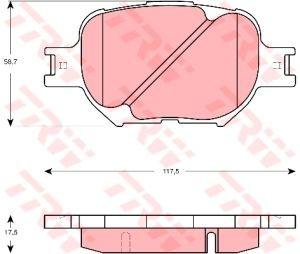 Колодки тормозные TOYOTA Corolla, Verso, Celica (4шт.) TRW GDB3316
