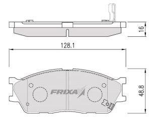 Колодки тормозные KIA Rio (02-), Spectra, Carens передние (4шт.) FRIXA FPK24, GDB3285, 58115-FDA00