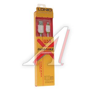 Кабель iPhone (5-) 1м белый силиконовый плоский LDNIO LDNIO LS-061W, LDNIO LS06