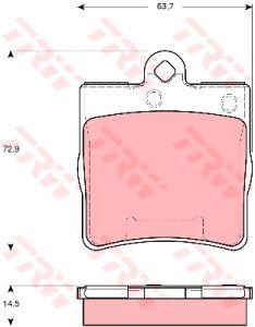 Колодки тормозные MERCEDES W202, W203, W209, W210, R171 CHRYSLER задние (4шт.) TRW GDB1545, 0034202720/0044201720