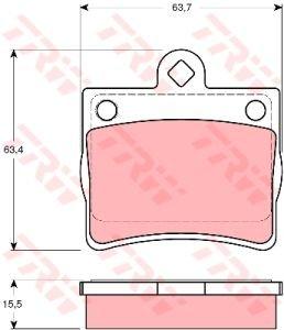 Колодки тормозные MERCEDES W202 (96-00) задние (4шт.) TRW GDB1283, 0024205120