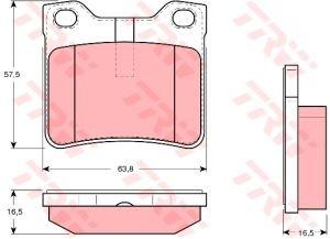 Колодки тормозные PEUGEOT 406 (1.6/3.0) (95-04), 607 (2.0/3.0) (00-) задние (4шт.) TRW GDB1276, 425266/425130