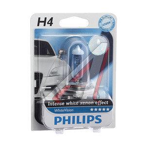 Лампа 12V H4 60/55W P43t 4300K блистер (1шт.) White Vision PHILIPS 12342WHVB1, P-12342WHVбл, АКГ12-60+55(Н4)