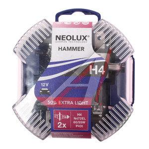 Лампа 12V H4 60/55W +50% P43t бокс (2шт.) Eхtra Light NEOLUX N472EL-2, NL-472EL2, АКГ12-60+55(Н4)