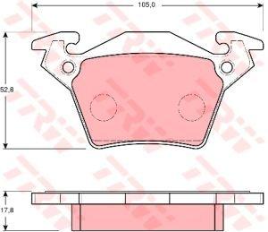 Колодки тормозные MERCEDES Vito 638 (96-03) задние (4шт.) TRW GDB1408, 0004214210