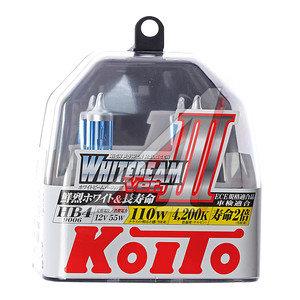 Лампа 12V HB4 55W+110% P22d бокс (2шт.) Whitebeam KOITO P0757W