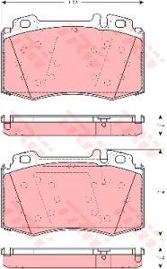 Колодки тормозные MERCEDES W163 (98-05),W220 (98-05),W129 передние (4шт.) TRW GDB1454, A1634200820