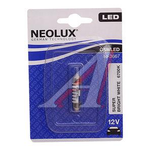Лампа светодиодная 12V C5W SV8.5-8 36мм 6700K двухцокольная блистер (1шт.) NEOLUX N3667, NL-3667, АС12-5