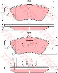 Колодки тормозные KIA Clarus (95-) передние (4шт.) TRW GDB3173, 0K9Y6-3328Z/0K9A0-3328Z