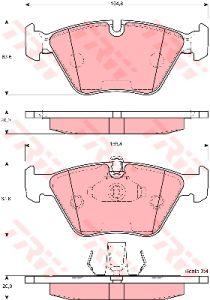 Колодки тормозные BMW 5 (E39) передние (4шт.) (ЗАМЕНА НА GDB1264) TRW GDB1404, GDB1264/GDB1404, 34111164627/34116761280/34116761278/34116754705