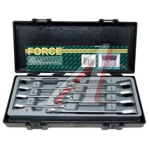 """Набор ключей накидных трещоточных 3/4-5/16"""" 8 предметов в кейсе прямые FORCE F-50812"""