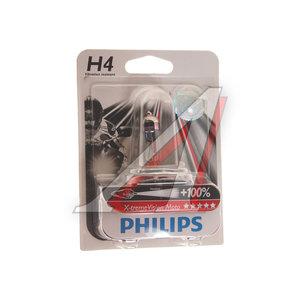 Лампа 12V H4 60/55W +100% P43t блистер (1шт.) X-Treme Vision Moto PHILIPS 12342XVBW, P-12342XVBWбл, АКГ12-60+55(Н4)