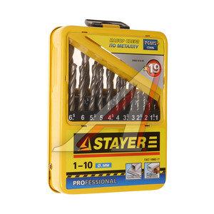 Сверло по металлу 1-10мм набор 19шт. HSS Profi STAYER 29602-H19-M