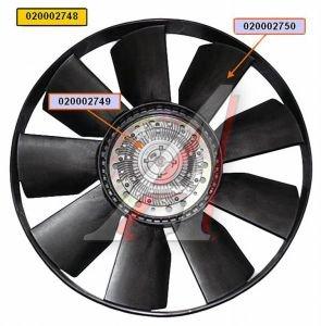 Вентилятор КАМАЗ-ЕВРО 704мм с вязкостной муфтой и обечайкой в сборе (дв.740.50,51,740.61,62) BORG 020002748