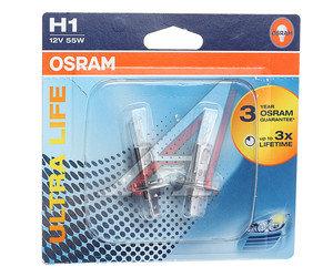 Лампа 12V H1 55W P14.5s блистер (2шт.) Ultra Life OSRAM 64150ULT-02B, O-64150ULT-2бл, А12-55(Н1)