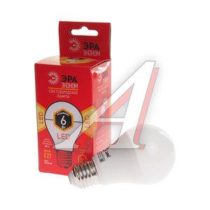 Лампа светодиодная E27 A60 6W (40W) теплый ЭРА ЭРА LED-SMD-A60-6W-827-E27 ECO, ER-LED276W, Б0017918