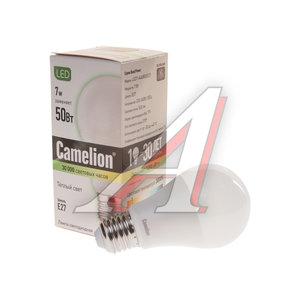 Лампа светодиодная E27 A60 7W (55W) теплый CAMELION Camelion LED 7-A60/830/E27, 11253