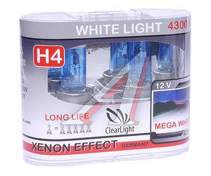 Лампа H4 12V 60/55W P43t White Light бокс (2шт.) CLEARLIGHT MLH4WL, АКГ12-60+55(Н4)