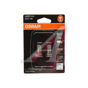 Лампа светодиодная 24V T4W BA9s 6000K блистер (2шт.) OSRAM 3924CW-02B, O-3924CW-2бл