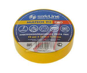 Изолента ПВХ желтая 19ммх25м SAFELINE 12127, SAFELINE 19х25