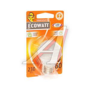 Лампа светодиодная E27 P45 6.2W(60W) 2700К 230V теплый шар ECOWATT 4606400419273