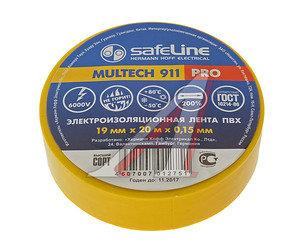 Изолента ПВХ желтая 19ммх20м SAFELINE 9367, SAFELINE 19х20