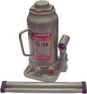 Домкрат бутылочный 15т 230-460мм с клапаном MATRIX 50729, Д2-3913010