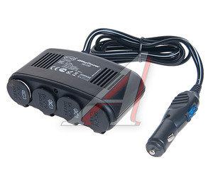 Разветвитель прикуривателя 4 гнезда + USB 12V Black HEYNER HNR-51100