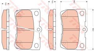 Колодки тормозные LEXUS GS,IS (05-) задние (4шт.) TRW GDB3399, 04466-30210/04466-53010