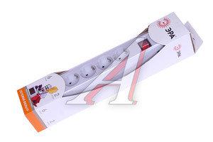 Фильтр сетевой 2м 10А 2200Вт, 6 гнезд, с заземлением, выключатель, евро, белый ЭРА SF-6es-2m-W, ЭРА