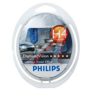 Лампа 12V H4 60/55W P43t 5000K бокс (2шт.) Diamond Vision PHILIPS 12342DVS2, P-12342DV2, АКГ12-60+55(Н4)
