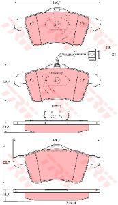 Колодки тормозные VW T4 (99-) (R15) передние (с датчиком) (4шт.) TRW GDB1391, 7D0698151D/7D0698151F