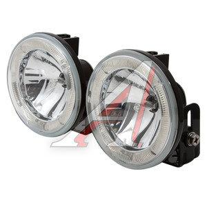 Фара дальнего света 12V d=100мм с габаритом белая с белым светодиодным кольцом комплект SIRIUS NS-34WW