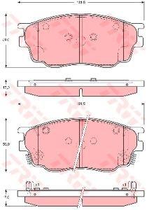Колодки тормозные MAZDA 6 GG, GY (02-07) передние (4шт.) TRW GDB3309, GJYA-33-23ZA/GJYB-33-23ZC/GJYB-33-23ZB