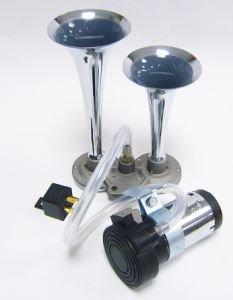 Сигнал звуковой 12V 2-х рожковый с компрессором (хром, L=230мм) АВТОТОРГ АТ-2003