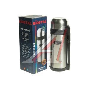 Термос 1.5л широкая горловина, сталь, с ручкой и ремешком BIOSTAL NG-1500-1