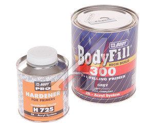 Грунт серый Body 300 HS 3:1 2К 1л с отвердителем Body H725 0.33л BODY BODY, 90996
